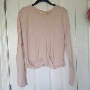 Blush long sleeve twist front top